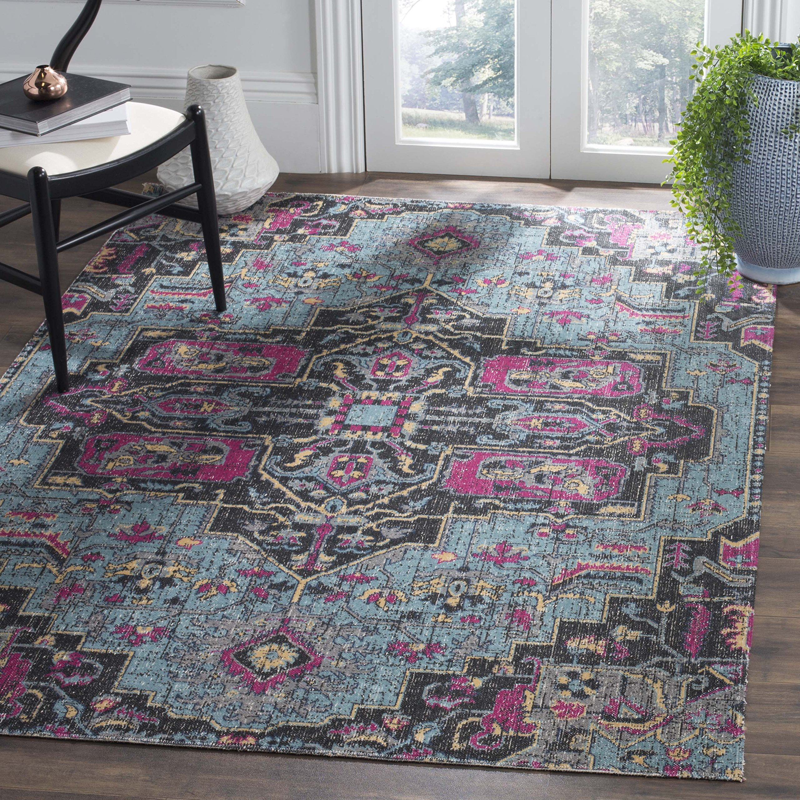 Safavieh Artisan Collection ATN511L Vintage Bohemian Light Blue and Black Medallion Area Rug (5'1 x 7'6) by Safavieh