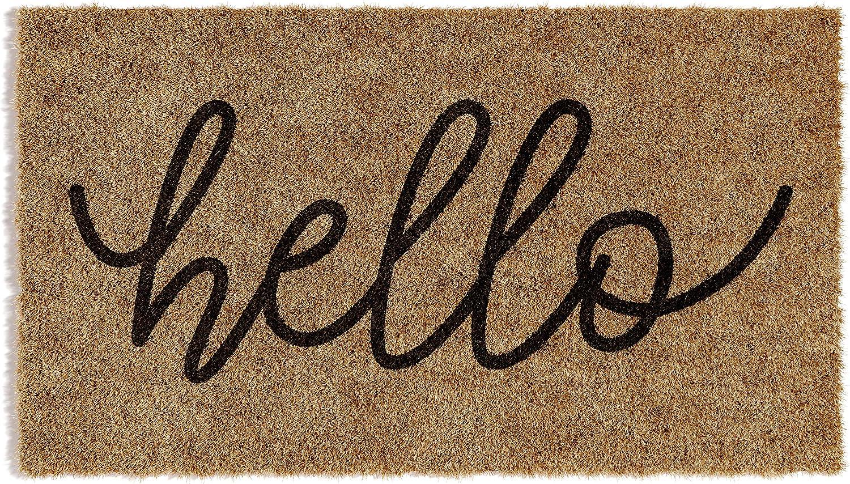 Barnyard Designs 'Hello' Doormat, Indoor/Outdoor Non-Slip Rug, Front Door Welcome Mat for Outside Porch Entrance, Home Entryway Farmhouse Decor, 30