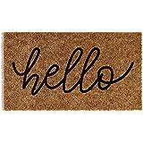 Barnyard Designs 'Hello' Doormat, Indoor/Outdoor Non-Slip Rug, Front Door Welcome Mat for Outside Porch Entrance, Home Entryw