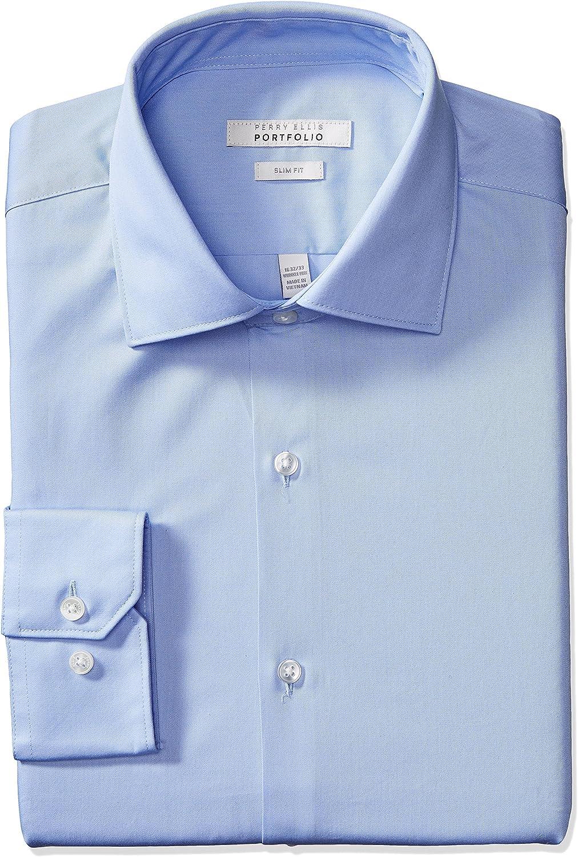 Perry Ellis Men's Slim Fit Wrinkle Free Dress Shirt at  Men's Clothing store