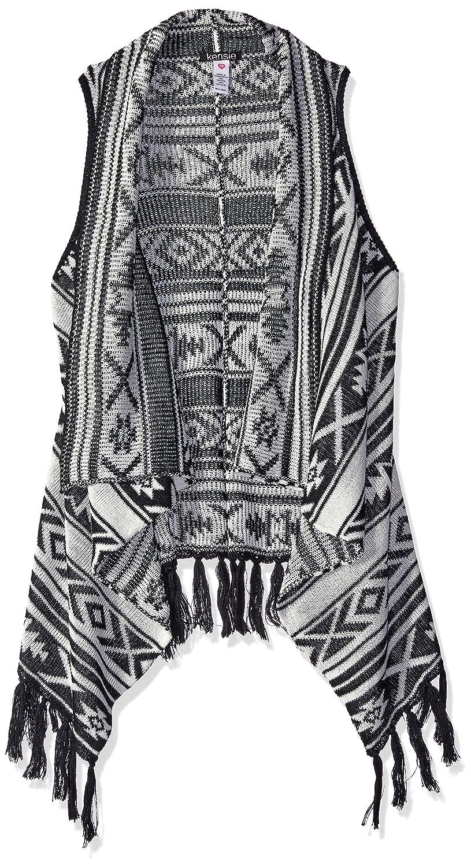 kensie Girls' Aztec Jacquard Sweater Vest with Fringe Kensie Kids Apparel 1704