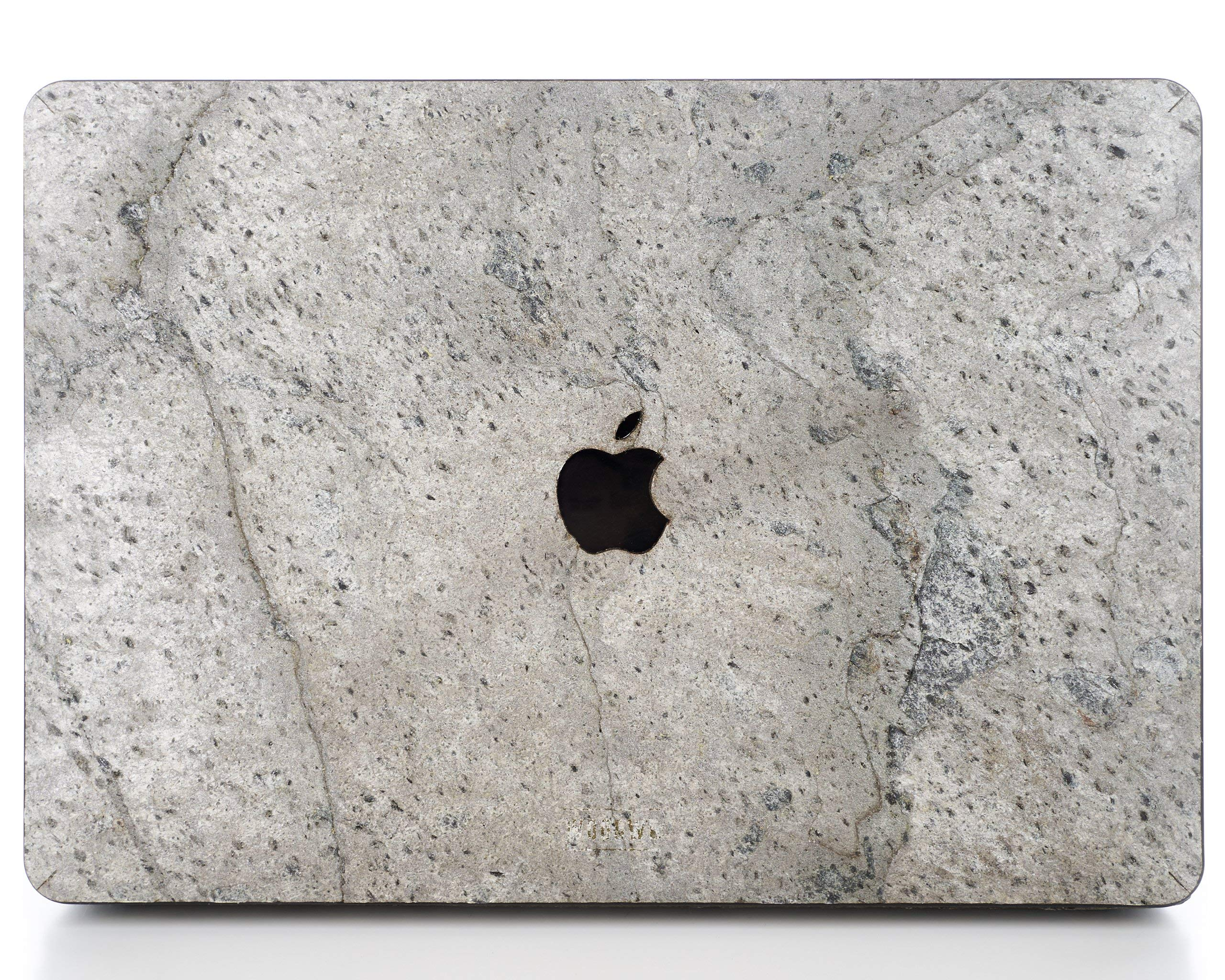 WOODWE Real Stone MacBook Hard Case for Protection | for Mac Pro 15 inch Retina Display/White Apple Logo | Mid 2012 – Mid 2015 | Natural Silver Grey Stone