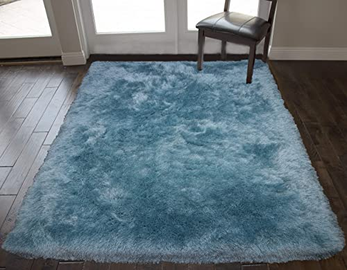 Turquoise Blue Colors Two Tone 8×10 Feet Area Rug Carpet Rug Solid Soft Plush Pile Shag Shaggy Fuzzy Furry Modern Contemporary Decorative Designer Bedroom Living Room Hand Woven