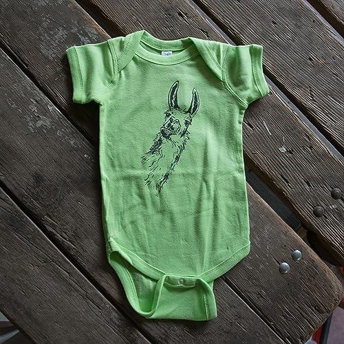 Screen Printed Llama onesie, eco-friendly waterbased inks