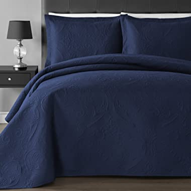 Comfy Bedding Extra Lightweight and Oversized Thermal Pressing Floral 3-Piece Coverlet Set (Full/Queen, Navy Blue)