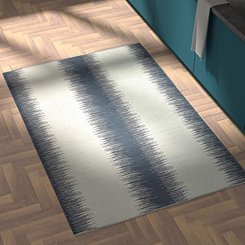 Rivet Abstract Reflections Modern Wool Area Rug, 4 x 6 Foot, Navy Blue