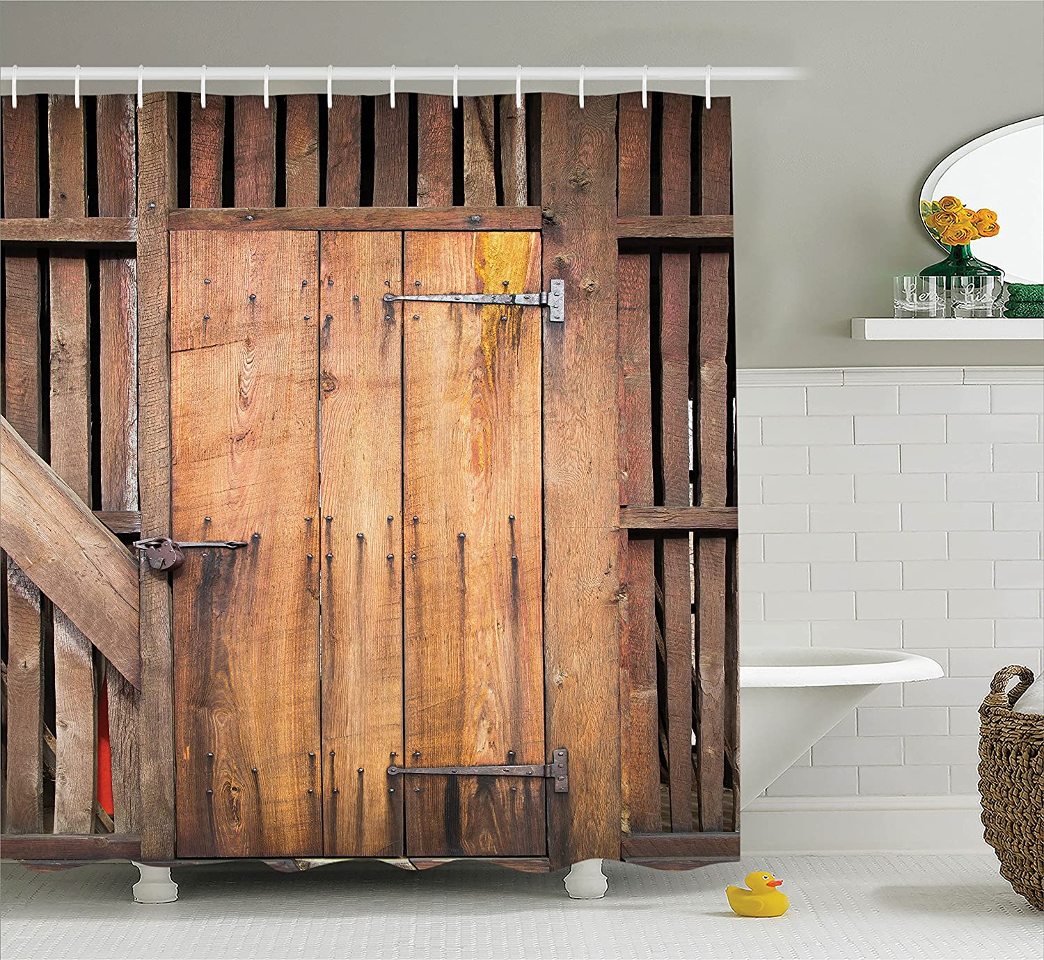 Ambesonne Wooden Barn Door Shower Curtain, Rustic Decor Rural Vertical Barns House Nobody Bohemian Decor Print, Polyester Fabric Bathroom Set with Hooks, Brown