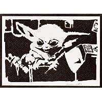Poster Baby Yoda El Mandaloriano STAR WARS Grafiti Hecho a Mano - Handmade Street Art - Artwork The Mandalorian