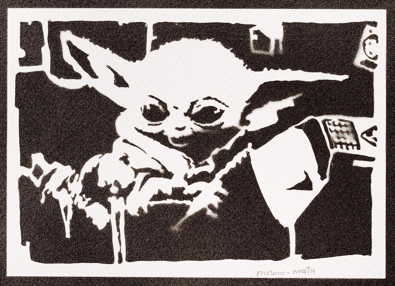 Poster Baby Yoda El Mandaloriano STAR WARS Grafiti Hecho A Mano ...
