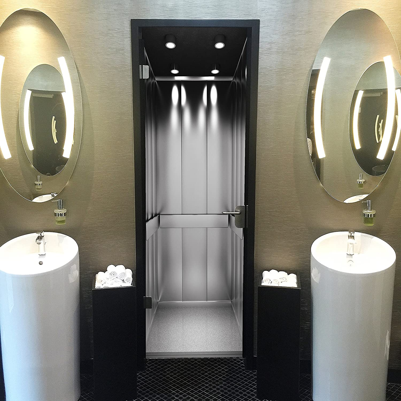 murimage Papier Peint Porte Ascenseur 86 x 200 cm Photo Mural Lift 3D Gris Noir et Blanc d/écoration Bureau s/éjour Wallpaper Colle Inclus