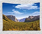 Ambesonne Nature Tapestry Wall Hanging, Yosemite El Capitan and Half Dome in California National Parks US Summertime View, Bedroom Living Room Dorm Decor, 60 W X 40 L Inches, Green Blue