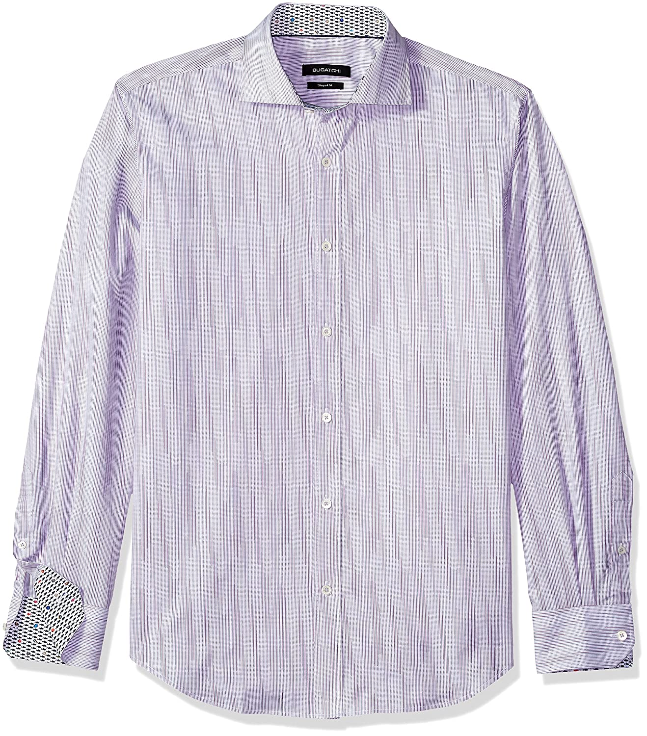 Bugatchi Mens Long Sleeve Shaped Fit Spread Collar Woven Shirt