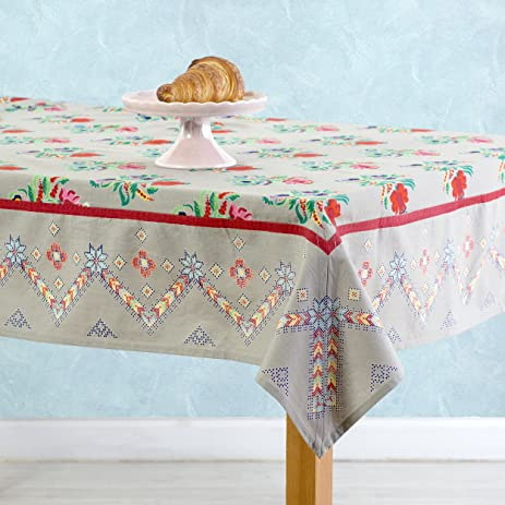 Machine Washable Tablecloth 100% Cotton Meditteranean Gray Design With  Border, 60 X 110 Inch