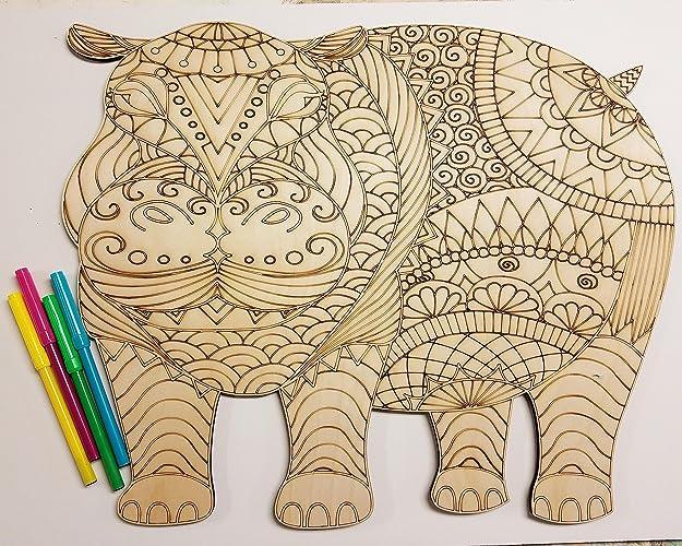 Amazon.com: Wooden Coloring Animal Art Kit, Elephant, Hippo, or Cat ...