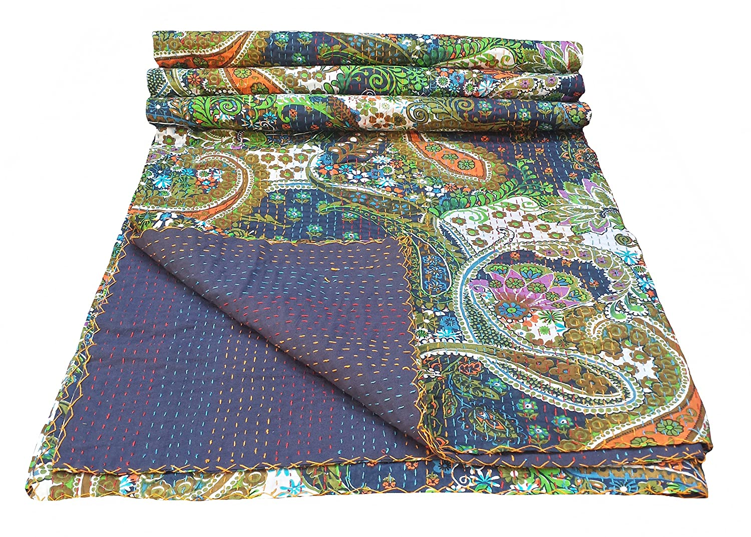 Baby quilts bed covers - Multicolor Paisley Print King Size Kantha Quilt Kantha Blanket Bed Cover King Kantha Bedspread Bohemian Bedding Kantha Size 90