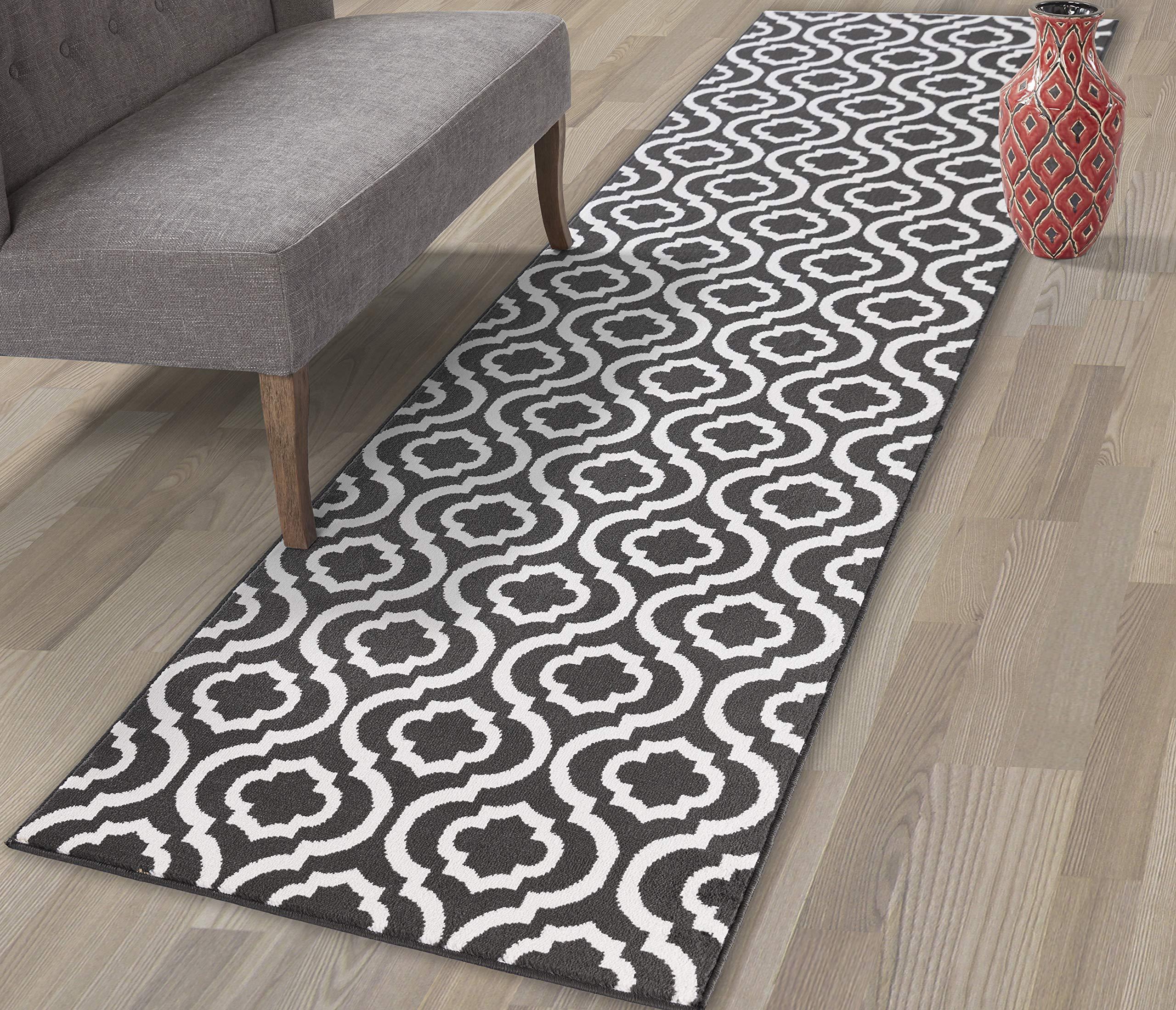 Diagona Designs Contemporary Geometric Moroccan Trellis Design 3' X 10' Runner Area Rug, 31'' W x 118'' L, Charcoal Gray/Ivory (JAS2039)