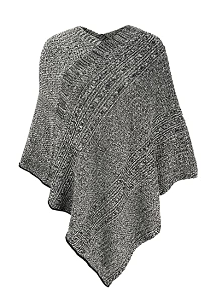 Green 3 Cable Knit Poncho (Black Space Dye) - Womens Recycled ...