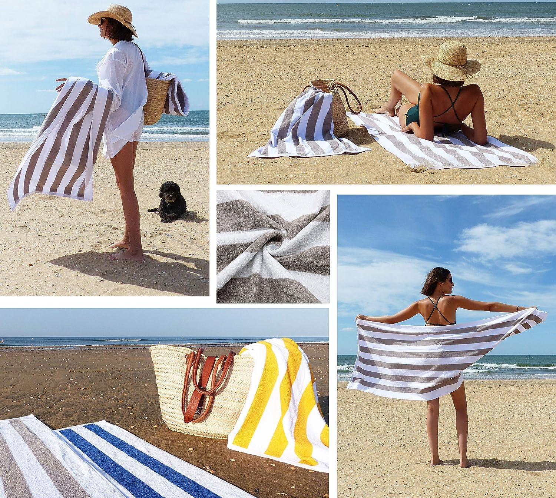 Toalla de Playa Grande de Secado r/ápido Toalla de Playa de ba/ño de Microfibra Ligera y Absorbente de Agua Hongzer Toalla de Playa de 100x180 cm con patr/ón de Rayas de Color
