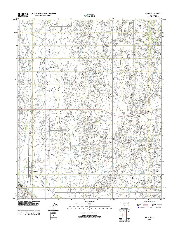 Freedom Oklahoma Map.Amazon Com Topographic Map Poster Freedom Ok Tnm Geopdf 7 5x7 5