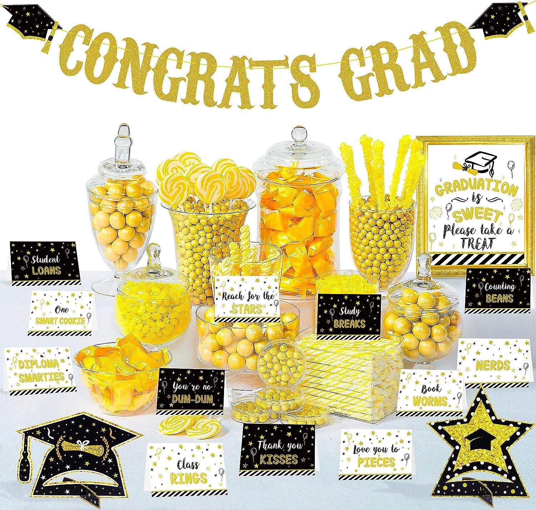 20PCS Graduation Decorations 2021 Party Supplies Set - Glitter Congrats Grad Banner Garland + 16 Label Tent Cards +1 Candy Bar Buffet Sign + 2 Table Centerpieces Decor Kit for Highschool Prek Graduate