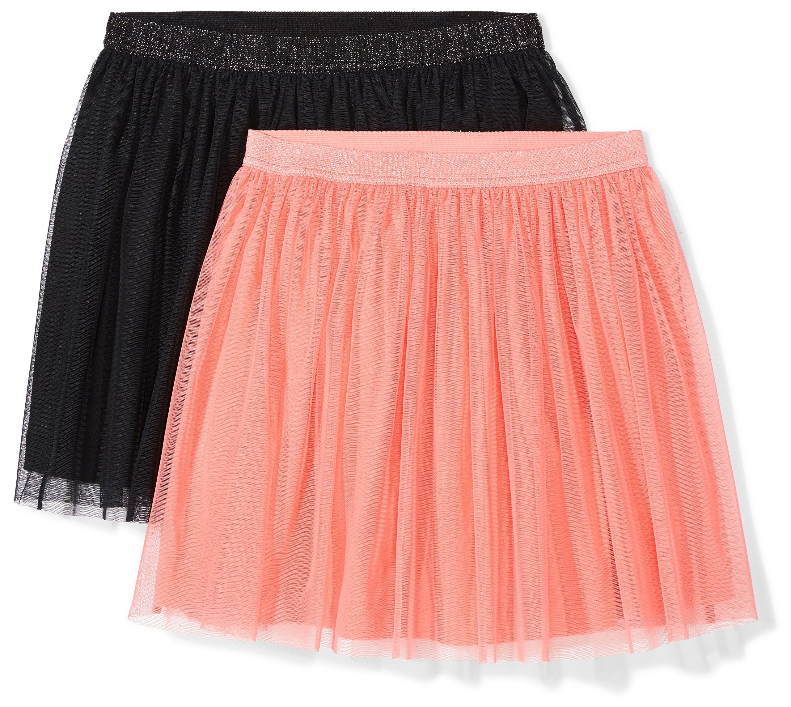 Spotted Zebra Girls' Little 2-Pack Tutu Skirts, Coral/Black, Small (6-7)