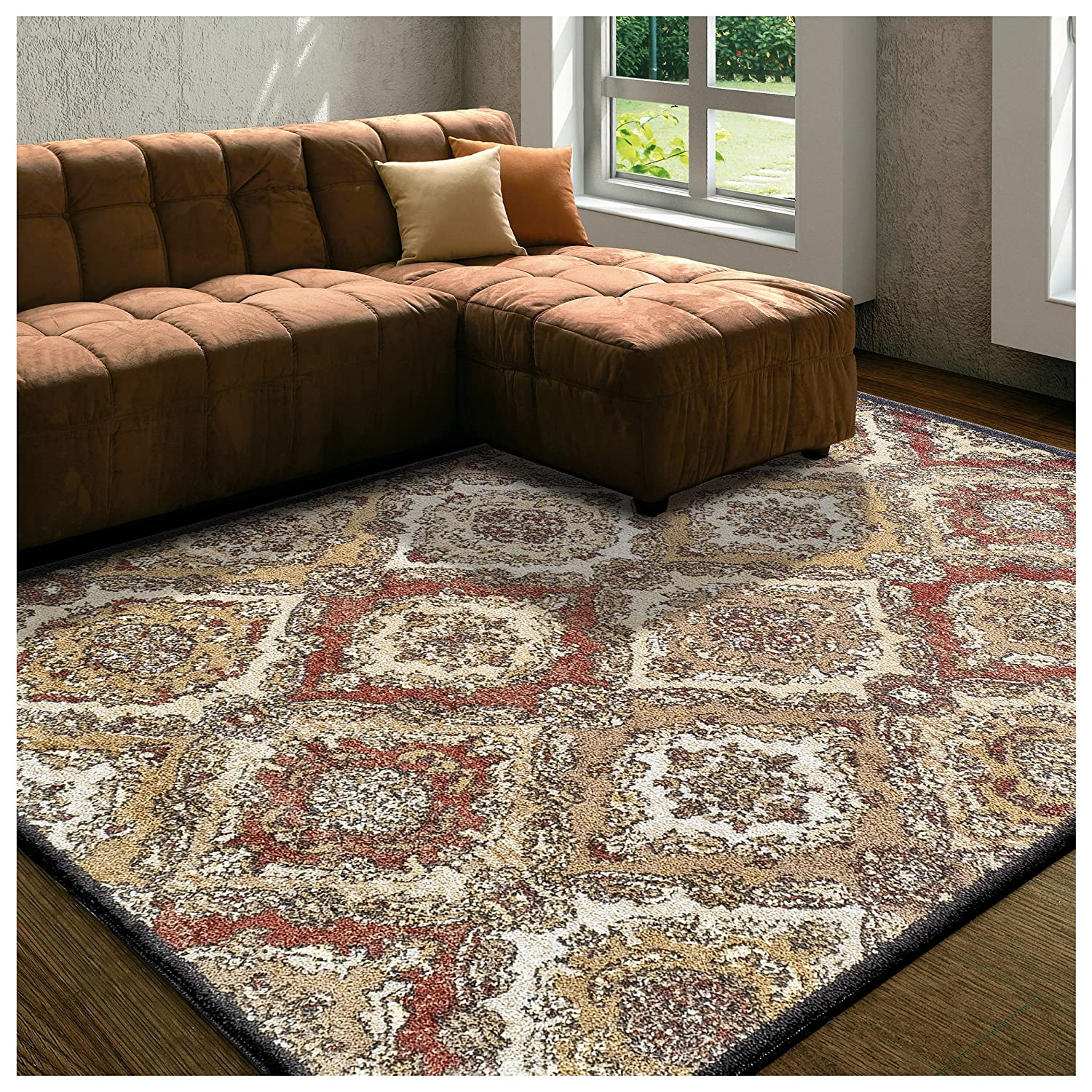 Superior Designer Hayden Area Rug Collection, Intricate Damask Ogee Pattern, 6mm Pile Height with Jute Backing, Affordable and Beautiful Rugs - 2'7 x 8', Black 2.6x8RUG-HAYDEN-BK