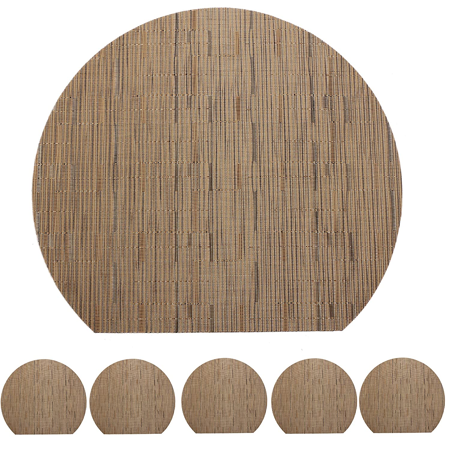 famibay Round Placemats for Round Table Set of 6 Wedge Kitchen Place Mats with 1 Round Piece Heat Insulation Stain-Resistant Vinyl Woven Place Mats Non-Slip Washable Table Mats Pack of 7 Brown