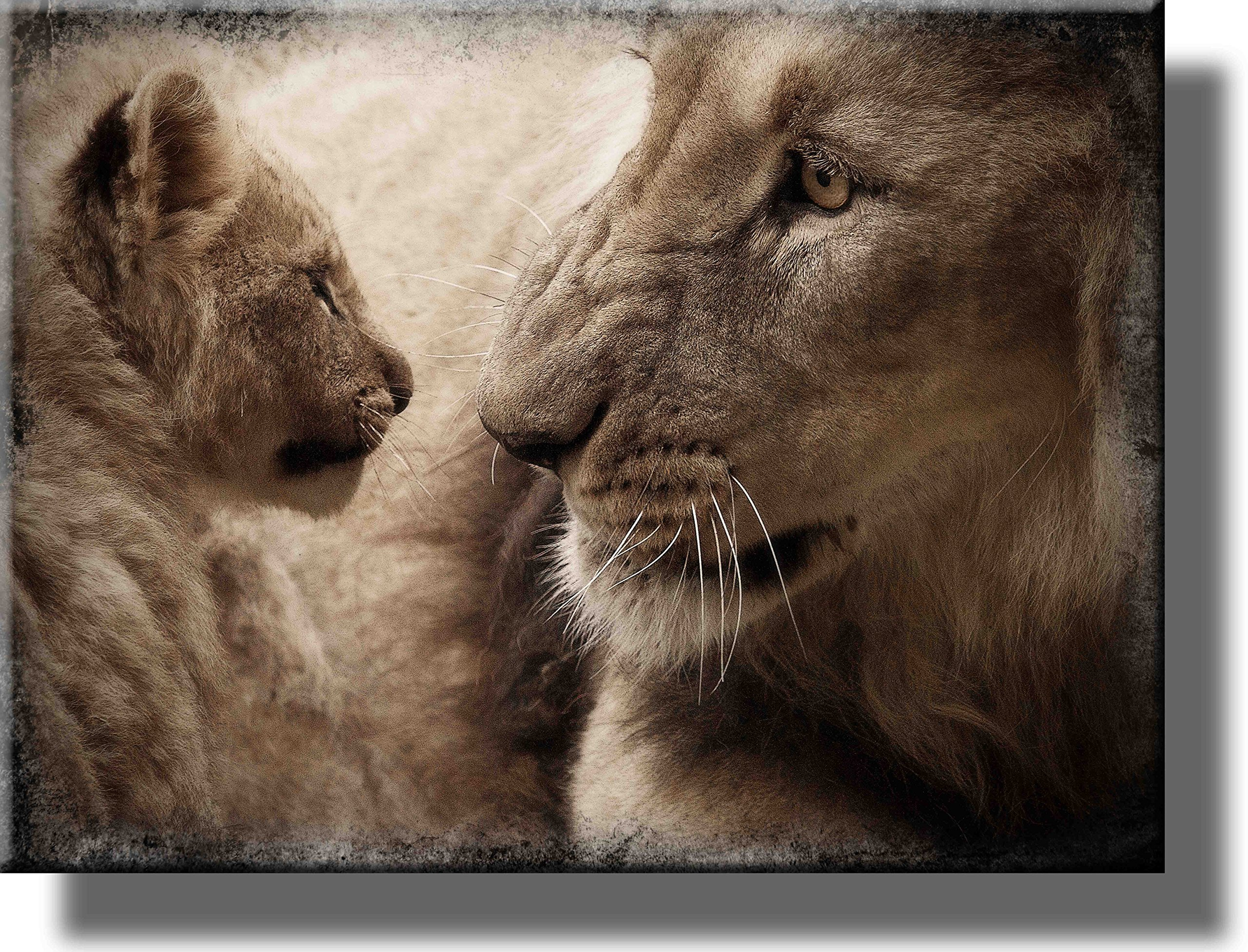 Lion and Cub Picture on Stretched Canvas, Wall Art Décor, Ready to Hang!