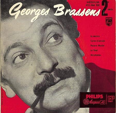 1 Disque Vinyle EP 45 Tours - Philips 432.066 - Georges Brassens : La Marine, Corne d'auroch, Pauvre Martin, Le vent, Hécatombe.: Amazon.fr: Musique