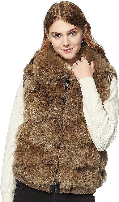 Women/'s Knitted Rabbit Fur Vests Fox Fur Collar Waistcoat Sleeveless Gilet Vests