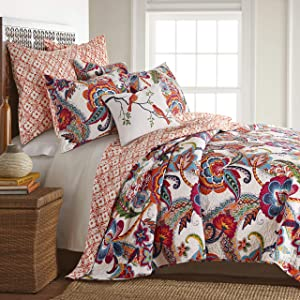 Levtex home - Cleo Quilt Set - King Quilt + Two King Pillow Shams - Orange Teal Red Grey Cream Pink - Quilt (106x92in.) and Pillow Shams (36x20in.) - Reversible - Cotton Fabric