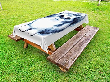 Amazoncom Navy Blue Outdoor Tablecloth By Ambesonne Cute Kitty - Best paint for picnic table