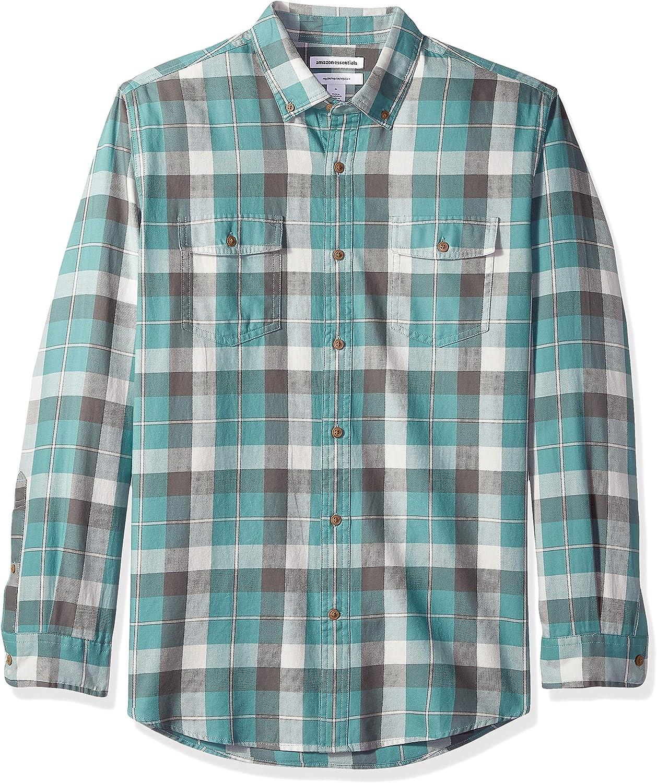 Amazon Essentials - Camisa de sarga con dos bolsillos y manga larga para hombre