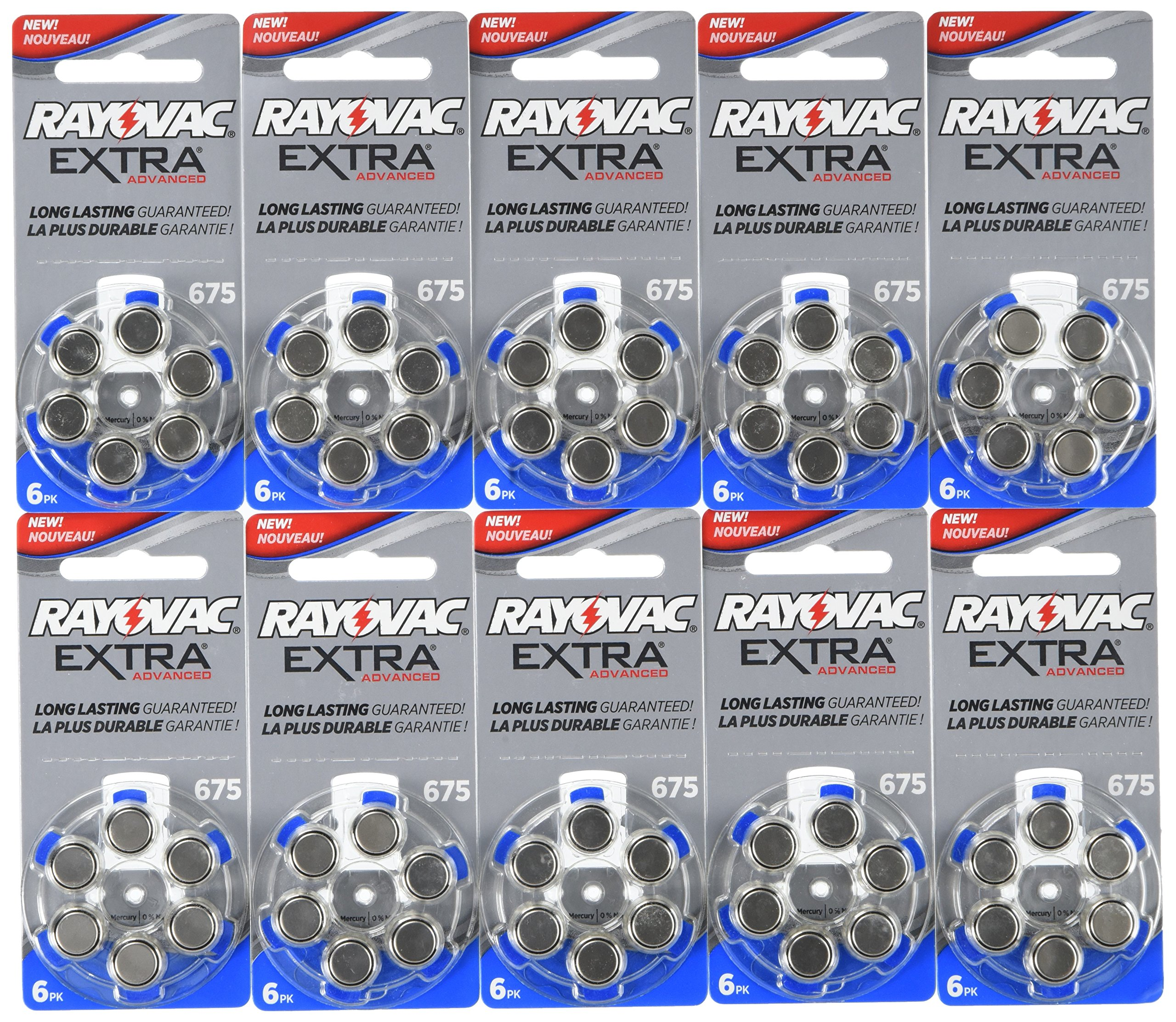 60 Rayovac Extra Mercury Free Hearing Aid Batteries Size: 675 by Rayovac