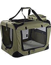 MOOL Lightweight Fabric Pet Carrier Crate with Fleece Mat and Food Bag, Medium, 60 x 42 x 42 cm, Green