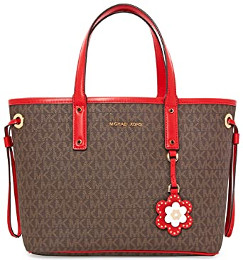 7897f960d22b Michael Michael Kors Carter Canvas Mini Revolver Signature Tote Handbag in Brown  Begonia: Amazon.co.uk: Clothing