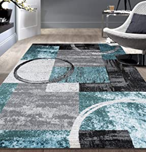 """Contemporary Abstract Circle Design Gray Soft 5'3"""" x 7'3"""" Indoor Area Rug"""