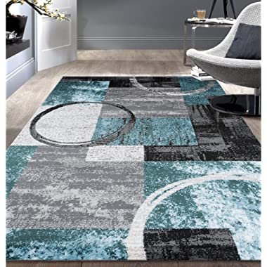 Contemporary Abstract Circle Design Soft Indoor Area Rug 7'10  x 10'2  Gray