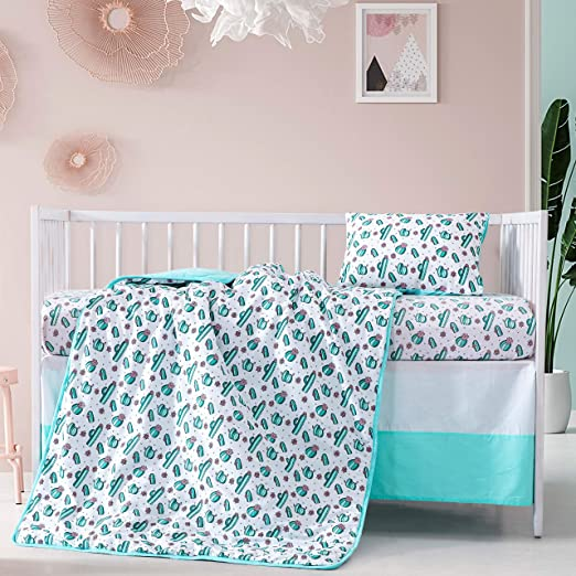 Amazon Com 4 Pieces Baby Crib Bedding Set Cactus Ultra Soft Cotton Nursery Bedding Sets For Boys And Girls Includes Fitted Sheet Crib Skirt And Crib Quilt Green Pink Kitchen Dining