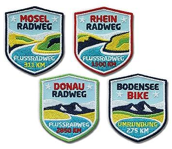 4er Set Fluss Radwege Abzeichen 51x 60 Mm Gestickt Rad Tour Donau