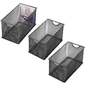 MyGift Set of 3 Black Metal Mesh CD Storage Boxes