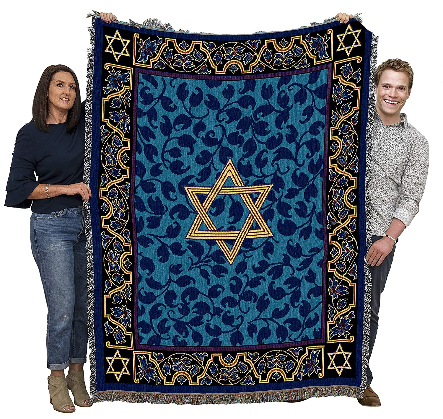 Pure Country Weavers - Magen David Star Woven Large Soft Comforting Throw Blanket with Artistic Textured Design Cotton USA 72x54