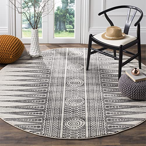 Safavieh Evoke Collection EVK226D Bohemian Vintage Ivory and Grey Round Area Rug 6 7 Diameter