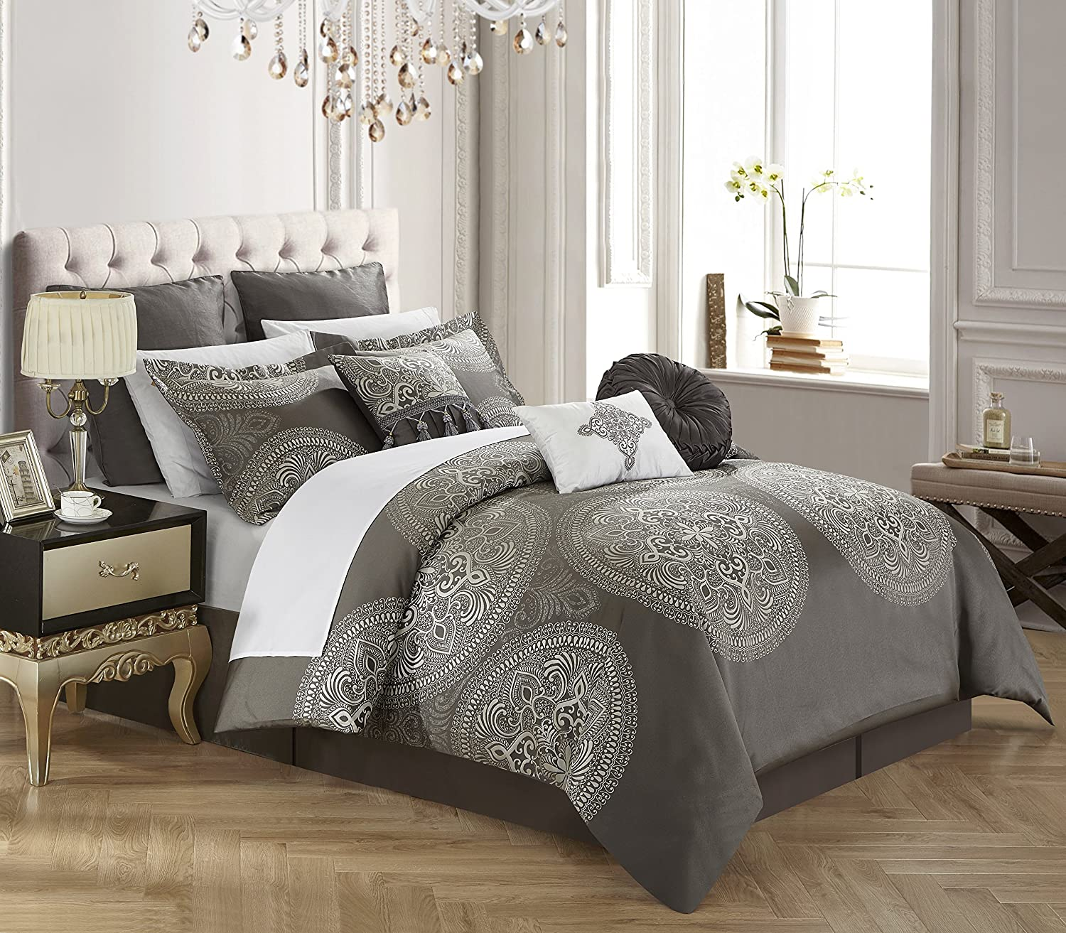 Chic Home 9 Piece Orchard Place Faux Silk Luxury Large Medalion Jacquard with Embroidery Details and Trims King Comforter Set Grey