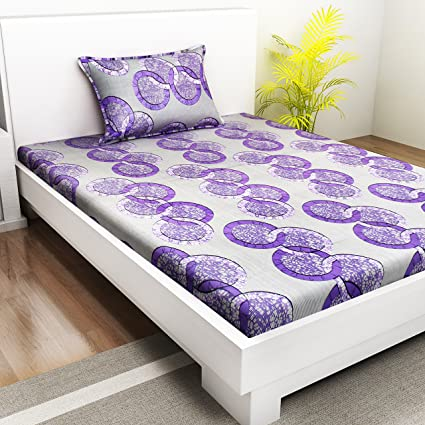 f1a2c66c59 Indiana Home 100% Cotton Single Bed Sheet with 1 Pillow Cover|Purple|Geometric:  Amazon.in: Home & Kitchen