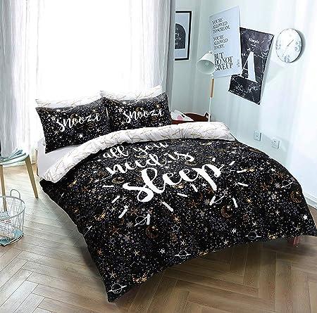 Copripiumino Matrimoniale Oro.Clyde Linens All You Need Is Sleep Slogan Nero Oro Copripiumino