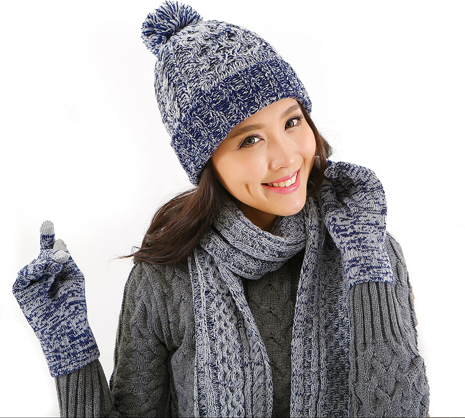 Amazon Com Dtbg Knitted Beanie Gloves Scarf Winter Set Warm Thick Fashion Hat Mittens 3 In 1 Cold Weather For Women Blue Clothing