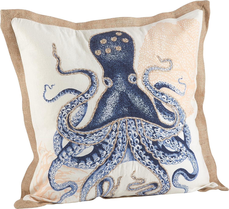 Amazon Com Saro Lifestyle Nautical Octopus Print Down Filled Throw Pillow 5435 Nb20s 20 Home Kitchen