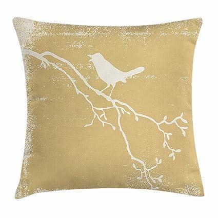 Pájaros manta almohada Funda de cojín por lunarable, Vintage aviar Animal silueta sobre una rama