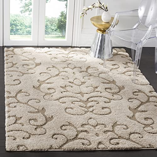 Safavieh Florida Shag Collection SG470-1113 Cream and Beige Area Rug 6 x 9